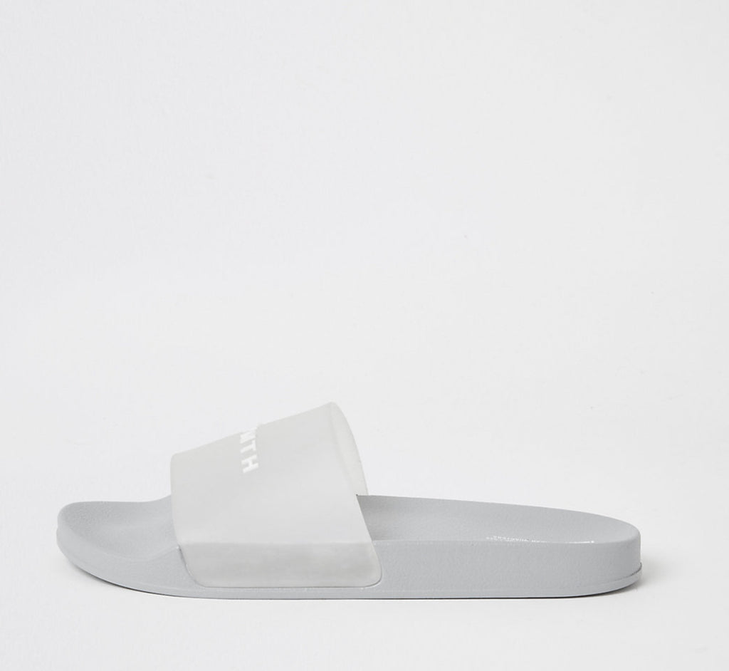 RIVER ISLAND SVNTH LIGHT GREY TRANSLUCENT SLIDERS 43
