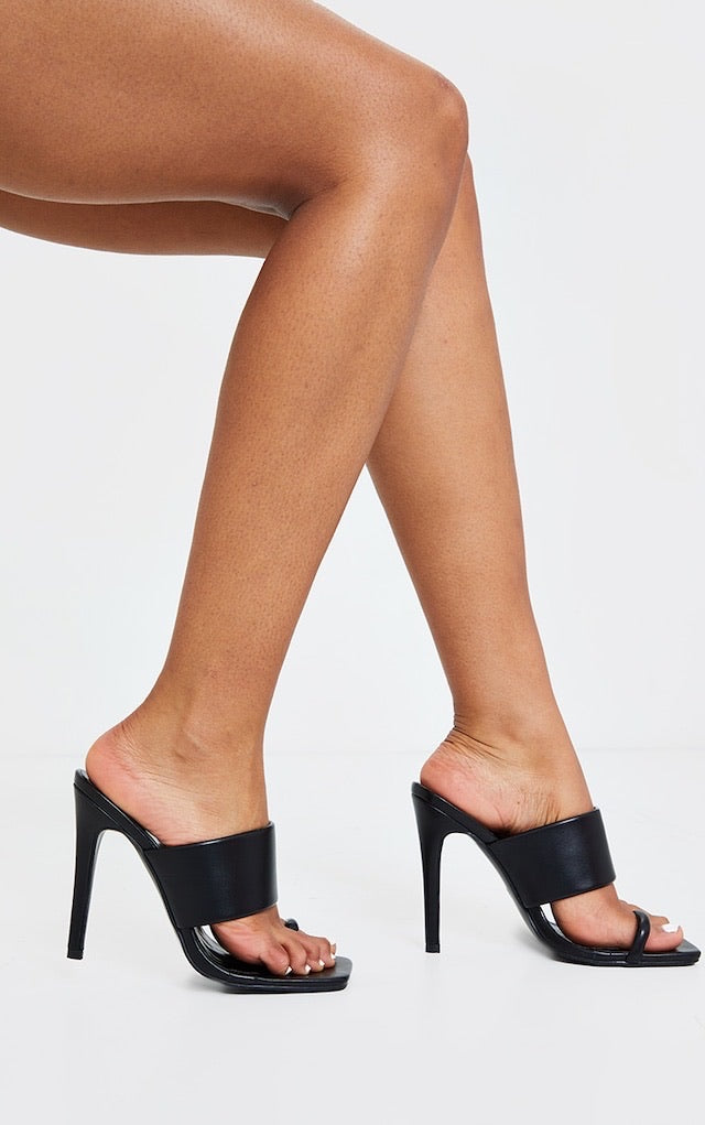 PRETTY LITTLE THING BLACK SQUARE TOE LOOP HIGH MULE HEELS