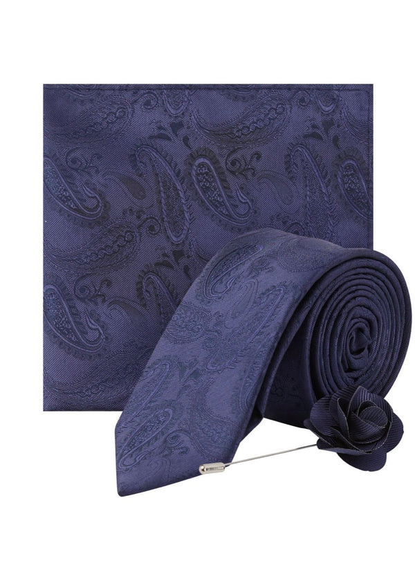 BURTON NAVY PAISLEY DESIGN TIE WITH MATCHING POCKET SQUARE