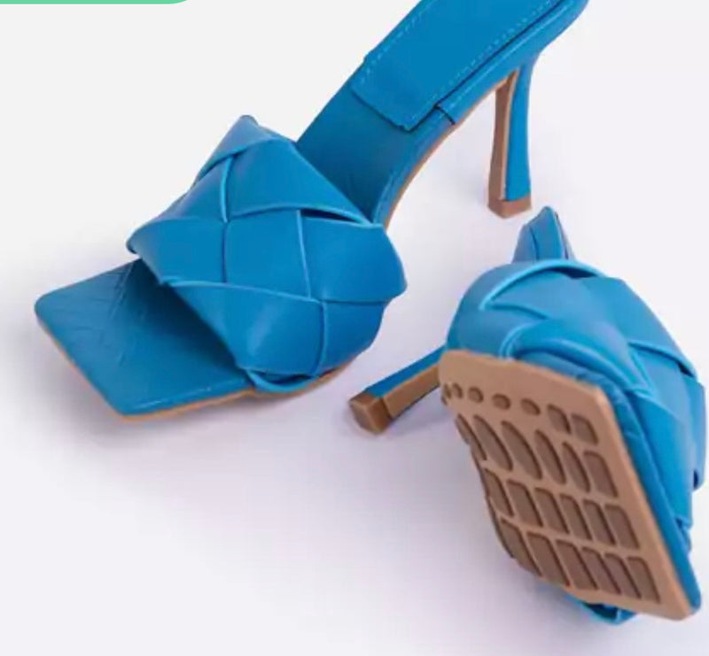 EGO TURNTUP WOVEN SQUARE PEEP TOE MULE IN BLUE FAUX LEATHER