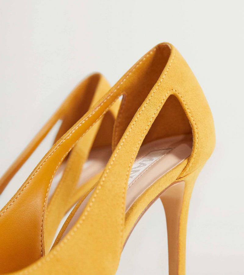 MANGO YELLLOW CUT-OUT HEELS
