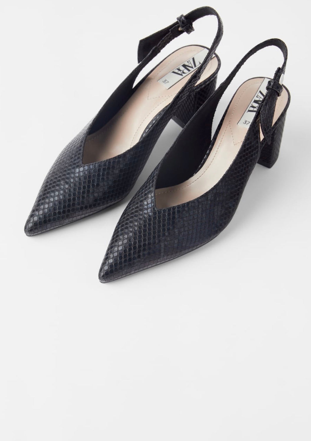 ZARA ANIMAL PRINT HEELED SLINGBACKS