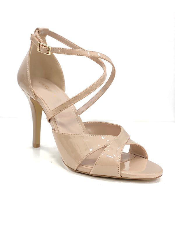 CARVELA NUDE SHIMMER CROSS STRAP SANDALS