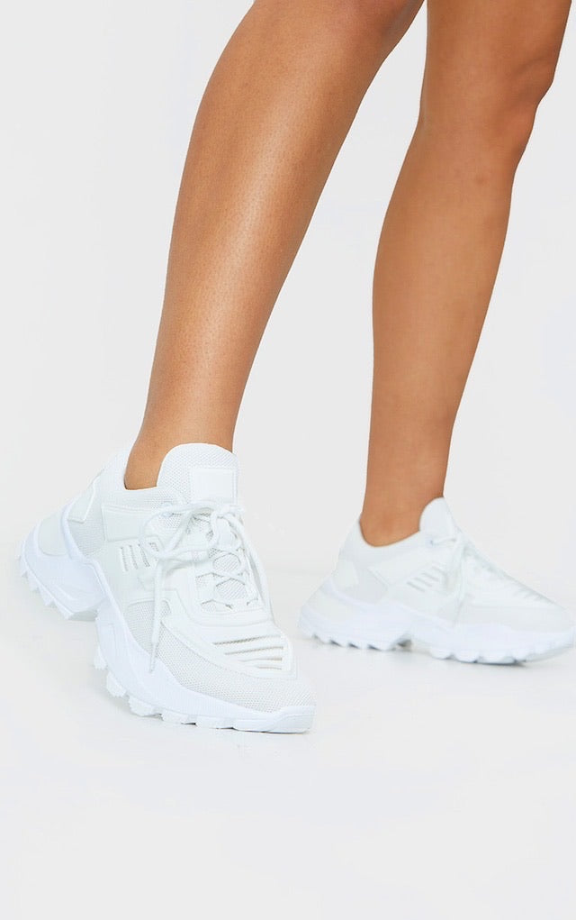 PRETTY LITTLE THING WHITE SPORTS PANEL UPPER CLEATED CHUNKY TRAINERS