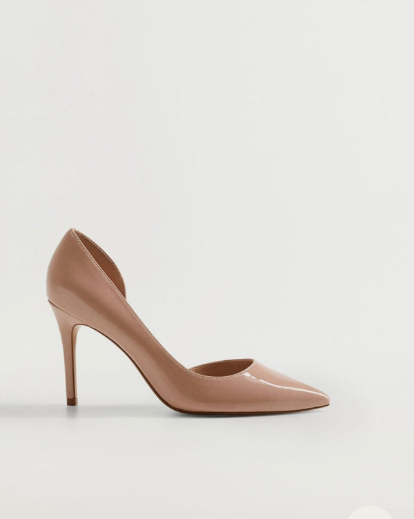 MANGO PATENT ASYMMETRICAL POINTED TOE PUMP