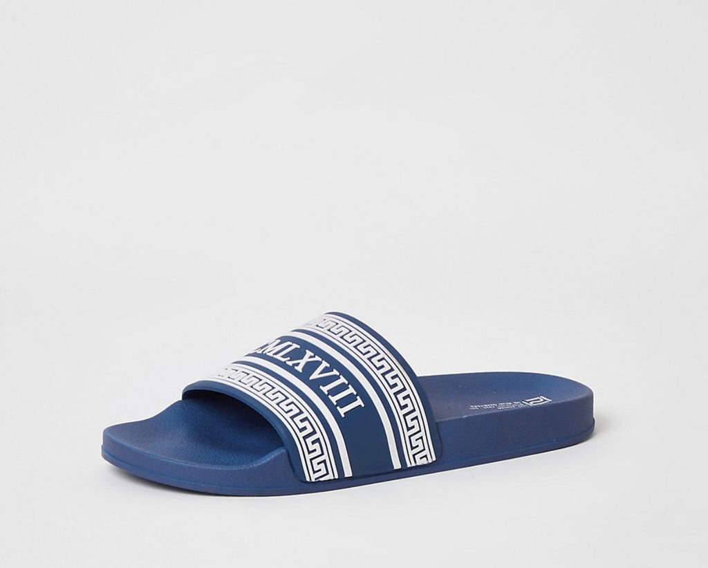 RIVER ISLAND MCMLX BLUE EMBOSSED SLIDERS 43