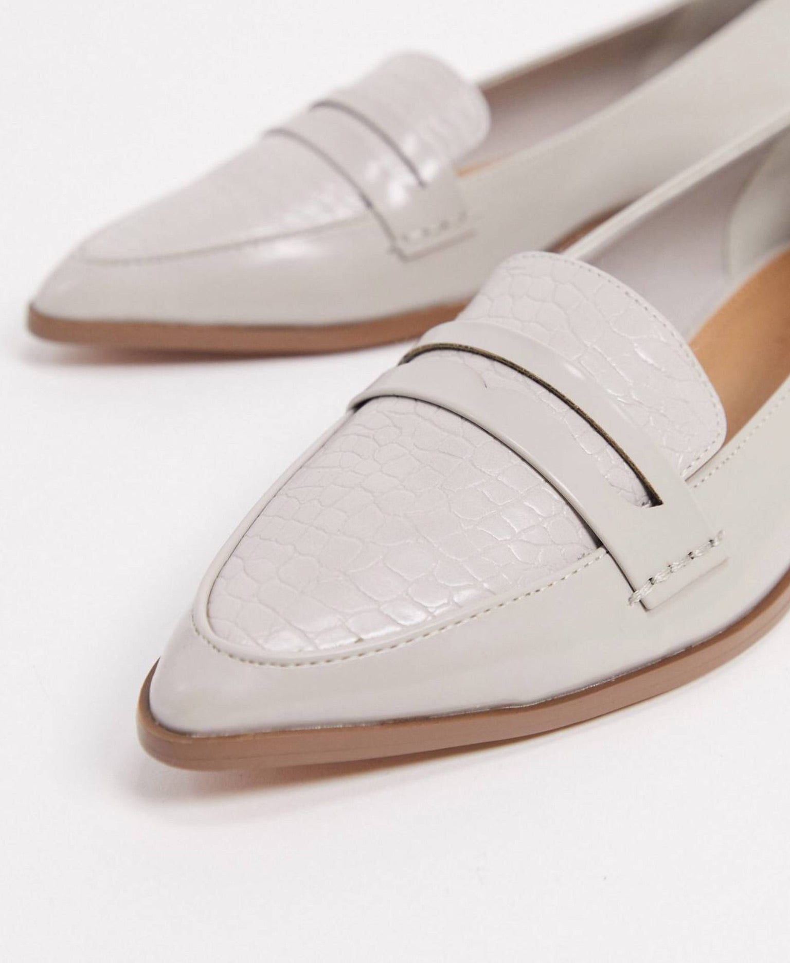 ASOS MALTYBY GREY CROC POINTED LOAFERS