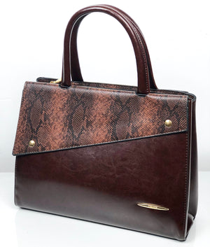 DON JONES ESPRESSO STRUCTURED PIN-DOWN SNAKEPRINT FLAP BAG