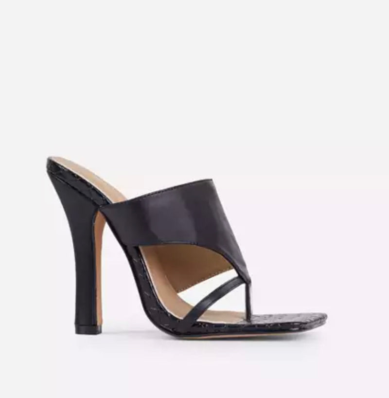 EGO CAPTIVATING WOVEN DETAIL SQUARE TOE HEEL MULE IN BLACK FAUX LEATHER