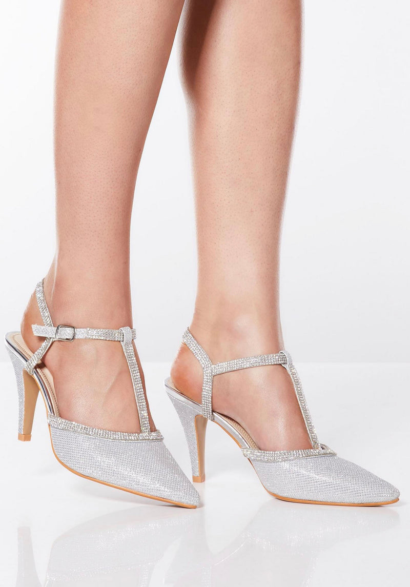 QUIZ SILVER SHIMMER DIAMANTE HEELED SHOES