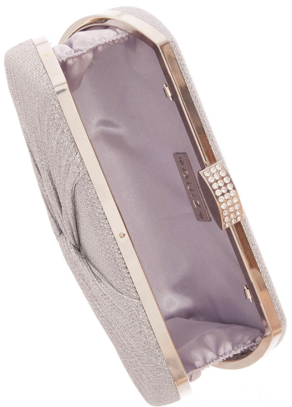 QUIZ SILVER SHIMMER BOX BAG