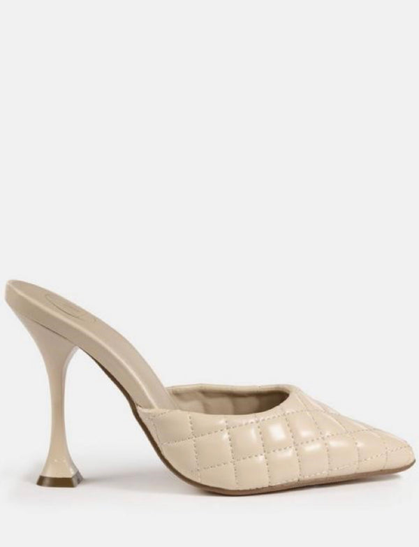 MISSGUIDED BEIGE HIGH HEEL QUILTED MULES