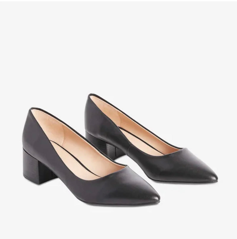 JOE FRESH BLACK LEATHER POINTED TOE BLOCK HEEL PUMP