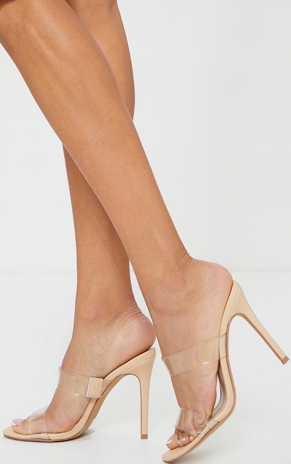 PRETTY LITTLE THING NUDE DOUBLE CLEAR STRAP MULE HIGH HEEL