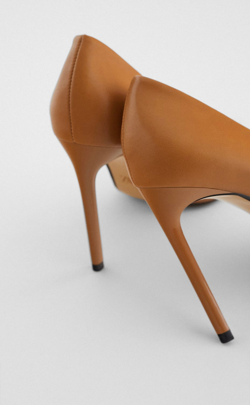 ZARA BROWN HIGH-HEEL SHOES WITH POINTED TOE