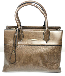 DON JONES OLIVE CROC PRINT STRUCTURED BAG