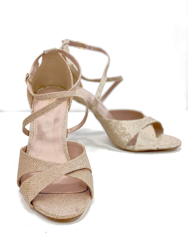 CARVELA GOLD SHIMMER CROSS STRAP SANDALS
