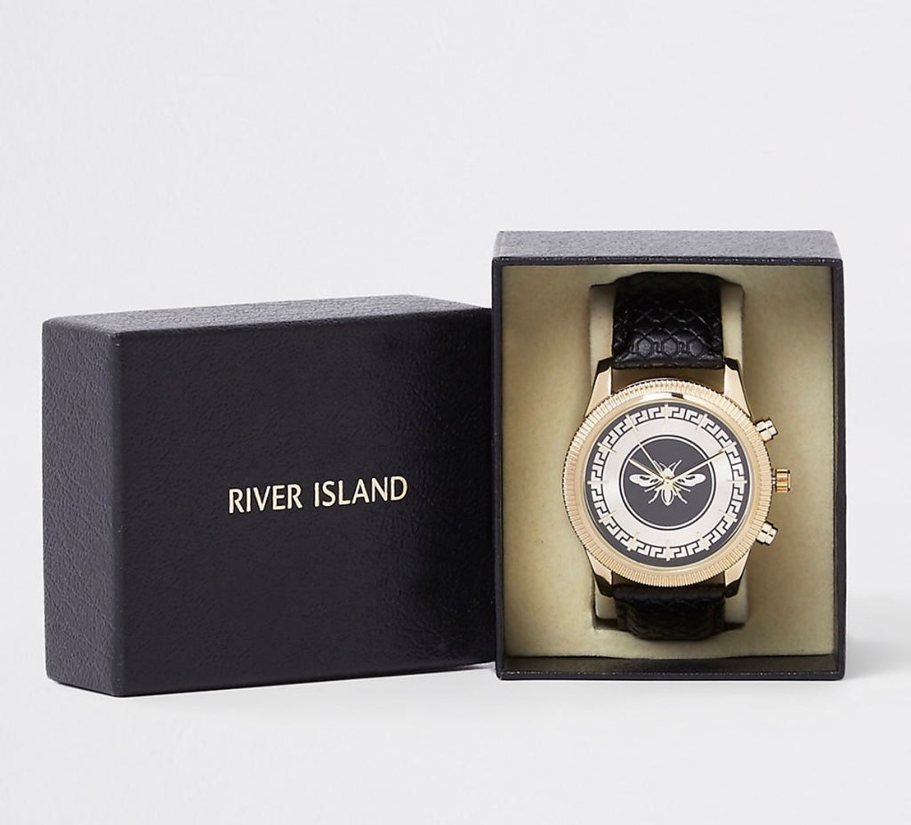 RIVER ISLAND LEATHER LOOK WASP WATCH