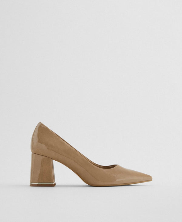 ZARA FAUX PATENT SHOES WITH BLOCK HEELS