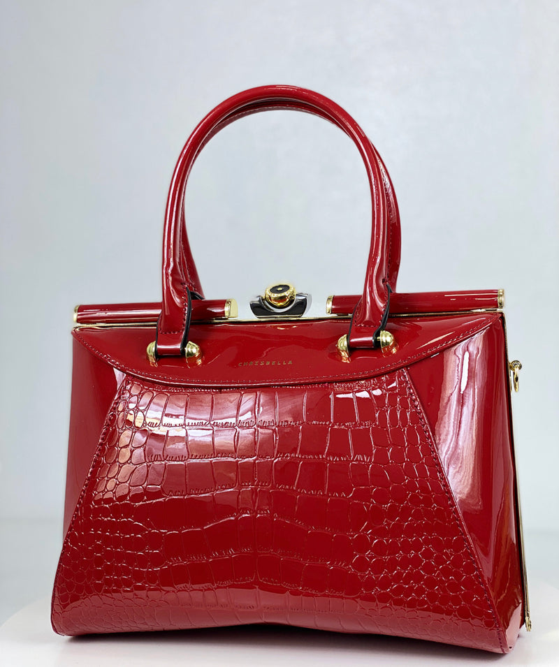 CHRISBELLA RED PATENT MIDI STRUCTURED BAG
