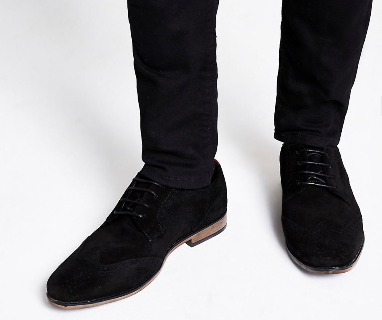 RIVER ISLAND BLACK SUEDE LACE-UP BROGUES