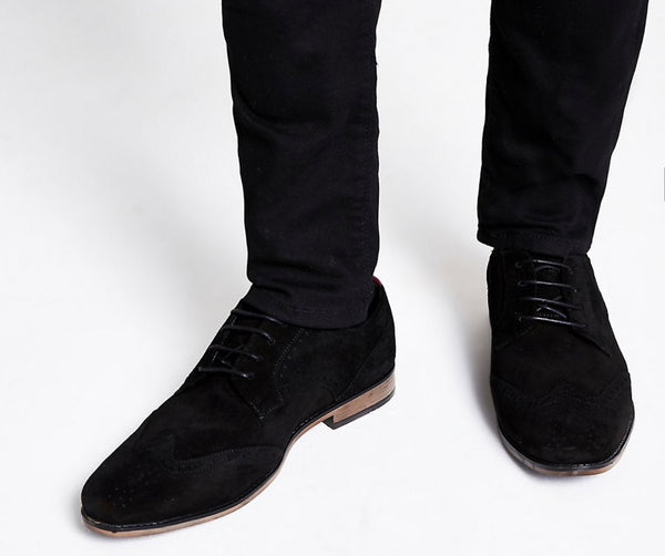 RIVER ISLAND BLACK SUEDE LACE-UP BROGUES 43