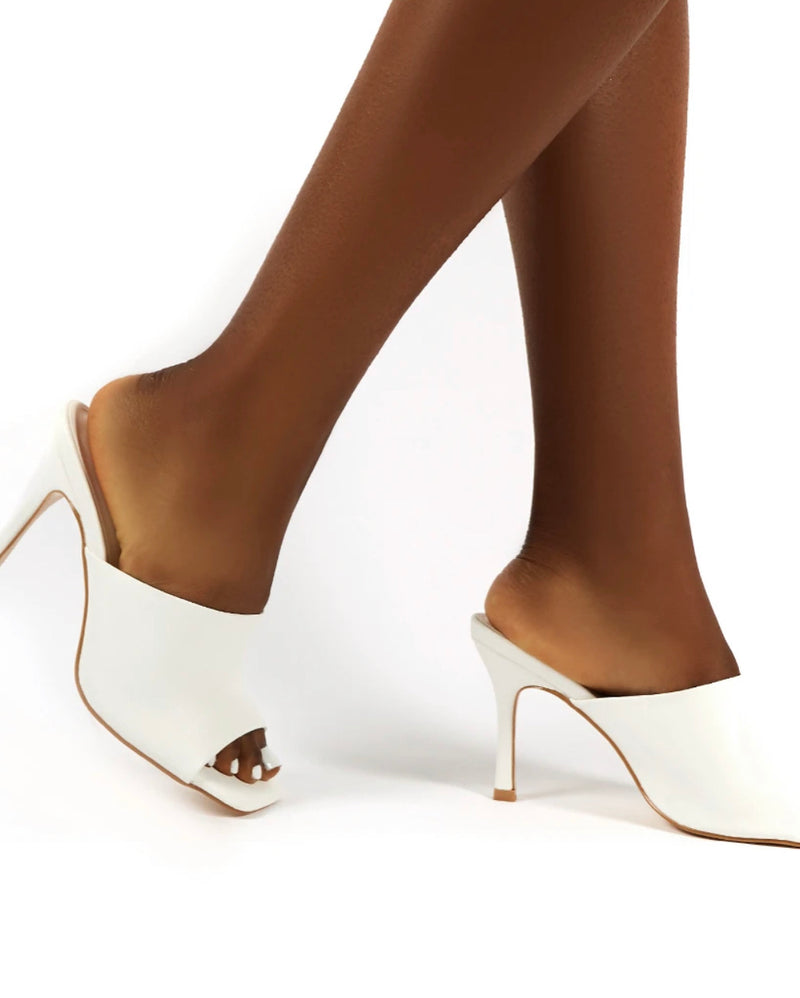 PUBLIC DESIRE EMILI WHITE WIDE FIT HEELED MULES