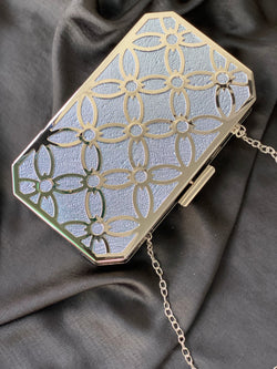 BISOYE SILVER IRIDESCENT CLUTCH