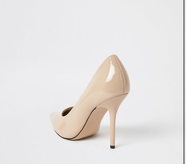 RIVER ISLAND PINK PATENT POINTED TOE HEELED COURT SHOES