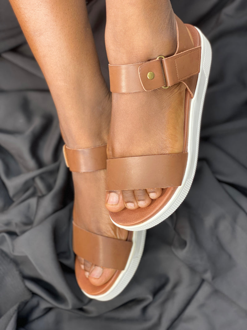 MIA BROWN ANKLE STRAP SANDALS