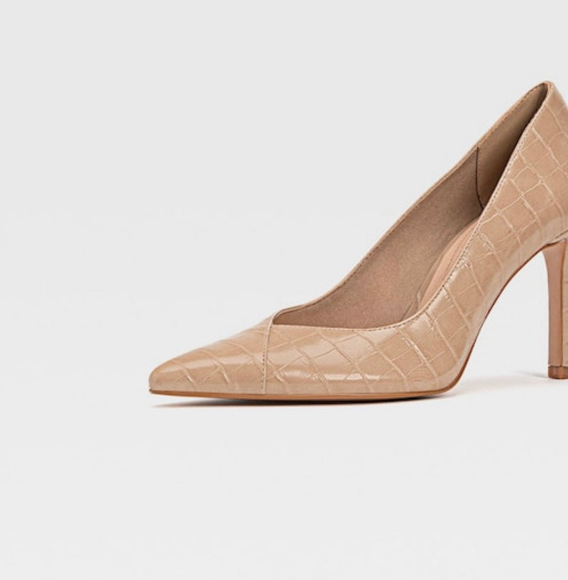 STRADIVARIUS NUDE EMBOSSED HIGH-HEEL SHOES