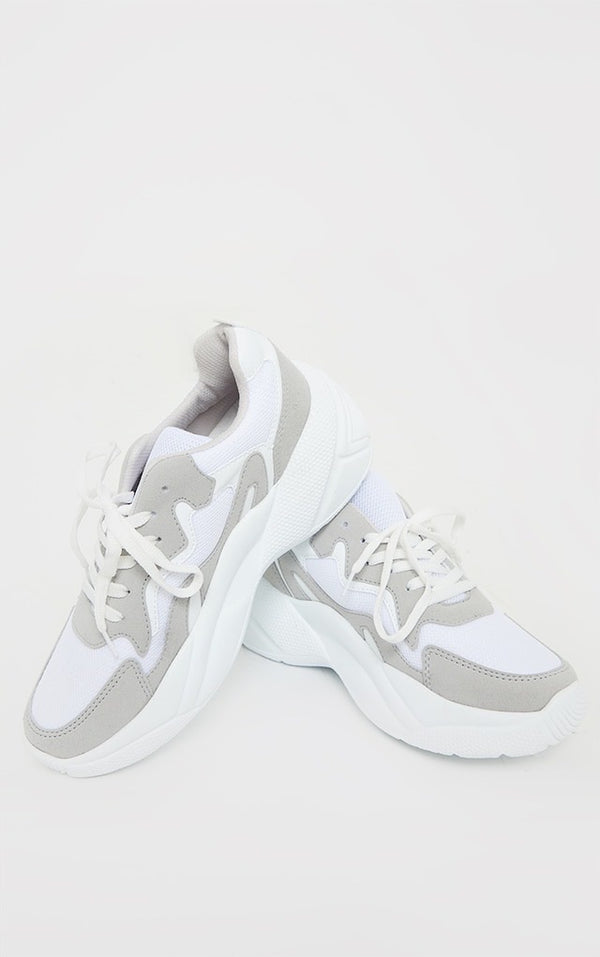 PRETTY LITTLE THING WHITE CHUNKY TEXTURED SOLE MESH LACE UP TRAINER