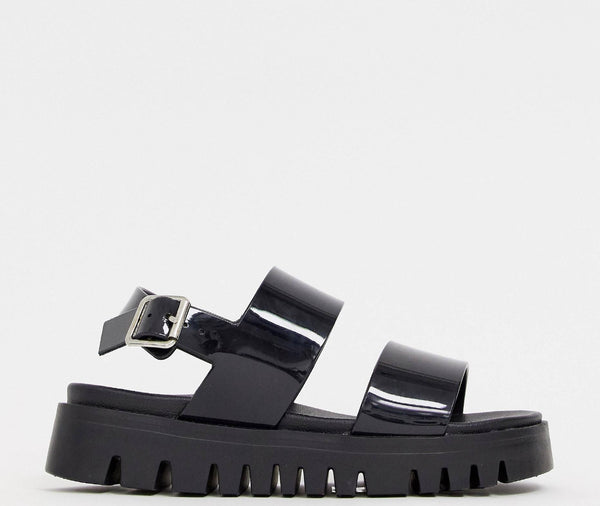 ASOS DESIGN FADEY CHUNKY JELLY FLAT SANDALS