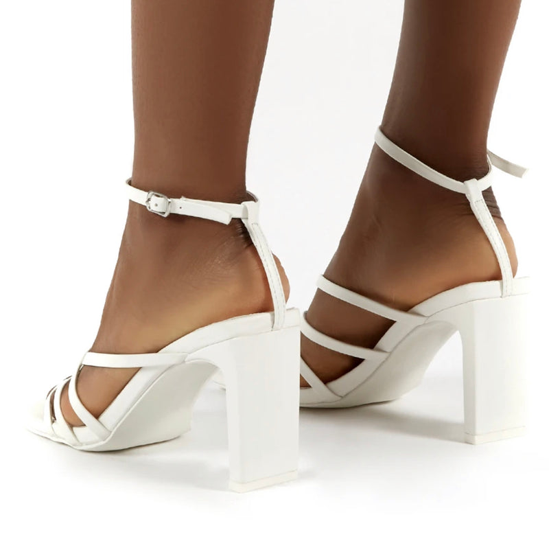 PUBLIC DESIRE CHARMS WHITE SQUARE TOE STRAPPY DETAIL BLOCK HEELS