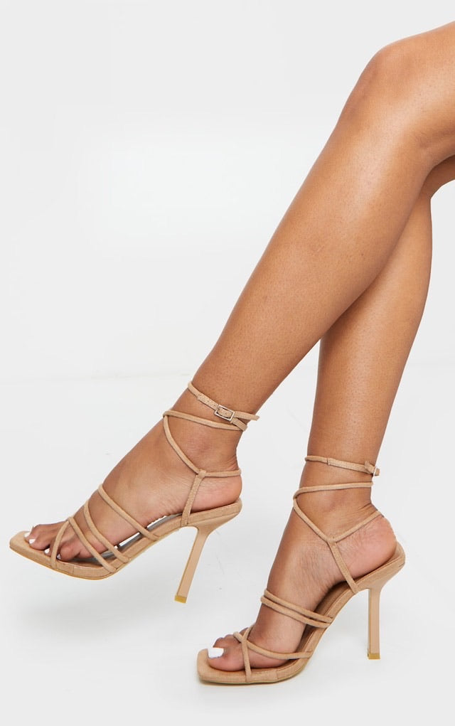 PRETTY LITTLE THING SAND SQUARED STRAPPY HEELS