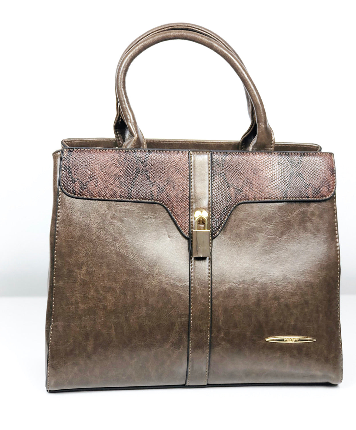 DON JONES OLIVE PADLOCK DETAIL SNAKEPRINT STRUCTURED BAG