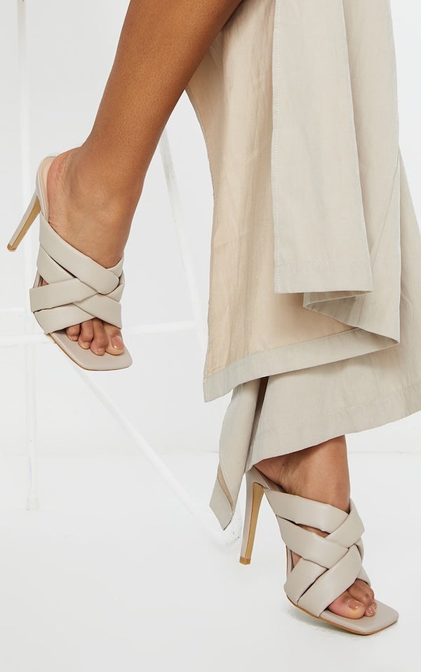 PRETTY LITTLE THING CREAM QUILTED WOVEN STRAP HIGH MULE HEELS