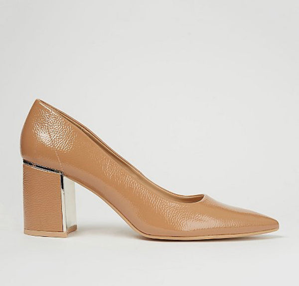 GEORGE NUDE PATENT METALLIC TRIM HEELED COURT SHOES