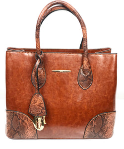 DON JONES BROWN CHARM DETAIL STRUCTURED BAG