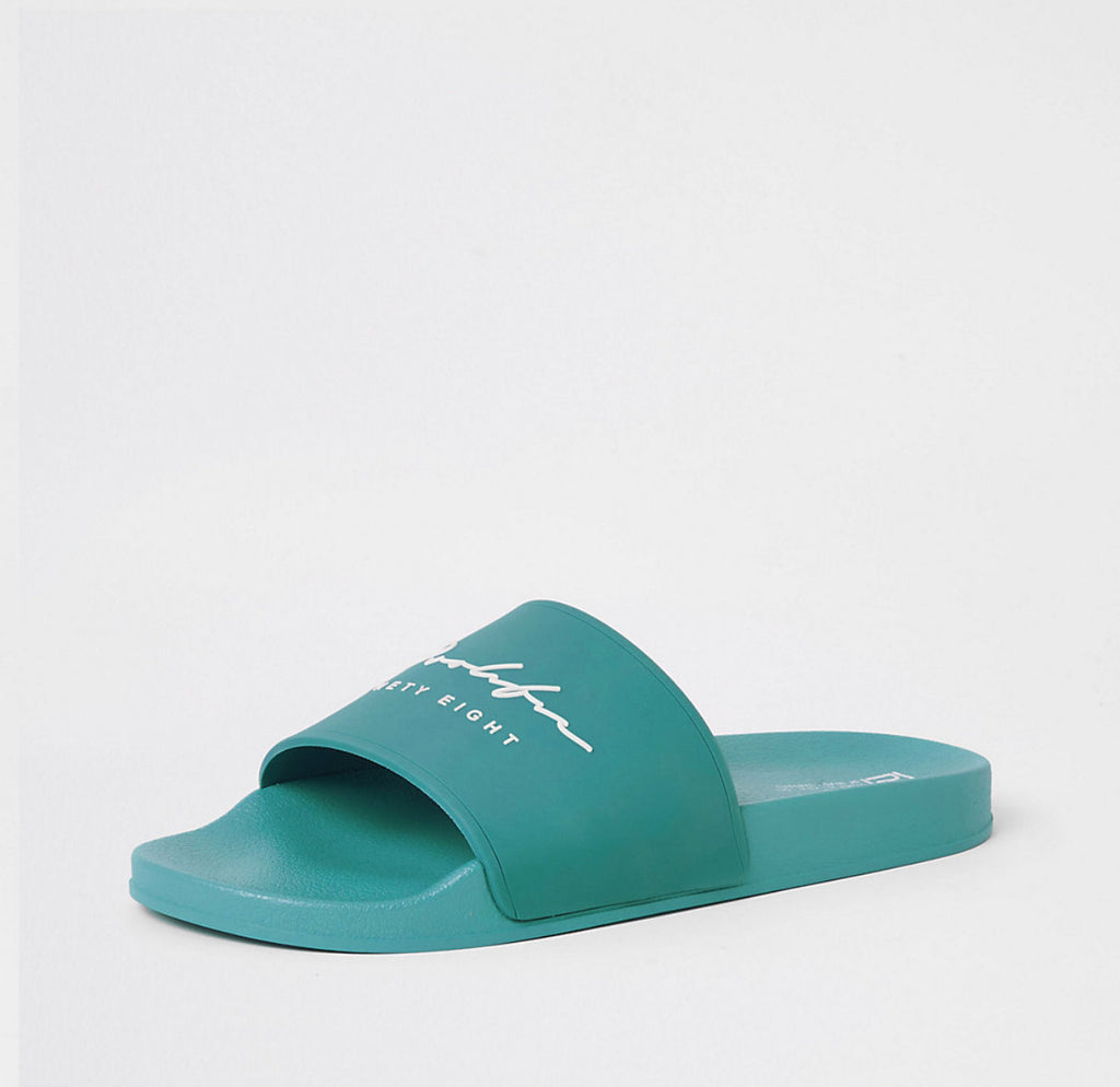 RIVER ISLAND PROLIFIC GREEN EMBOSSED SLIDERS 43