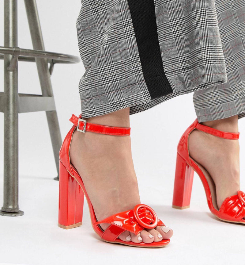 LOST INK RED ANKLE STRAP BOW DETAIL SANDAL 38