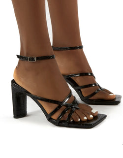 PUBLIC DESIRE CHARMS BLACK CROC SQUARE TOE STRAPPY DETAIL BLOCK HEELS