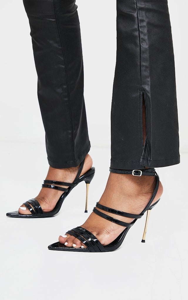 PRETTY LITTLE THING BLACK POINT TOE PIN HEELS DOUBLE STRAP HEELS SANDALS