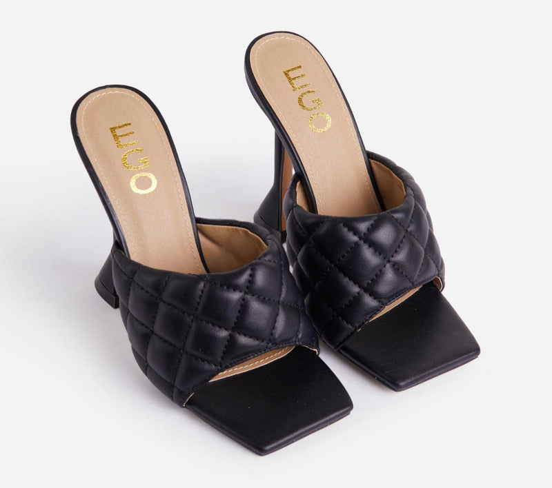 EGO BUTTER QUILTED SQUARE PEEP TOE SCULPTURED HEEL MULE IN BLACK FAUX LEATHER