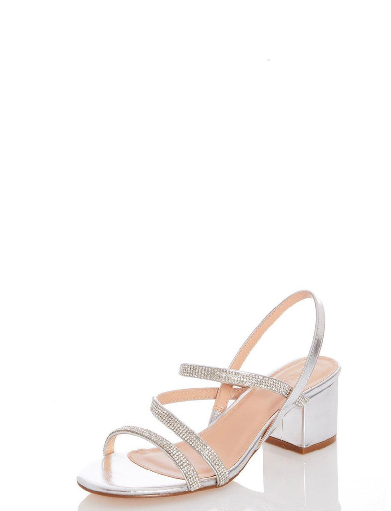 TRUFFLE COLLECTION SILVER DIAMANTE BLOCK HEEL SANDALS