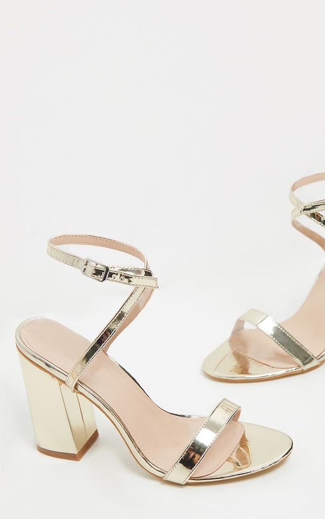 PRETTY LITTLE THING GOLD ANKLE STRAP BLOCK HEEL