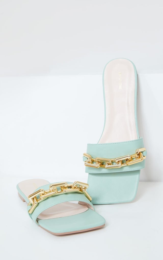 PRETTY LITTLE THING SAGE GREEN SQUARE TOE CHAIN DETAIL FLAT MULE