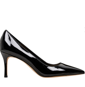 NINE WEST BLACK PATENT MID-HEEL PUMP