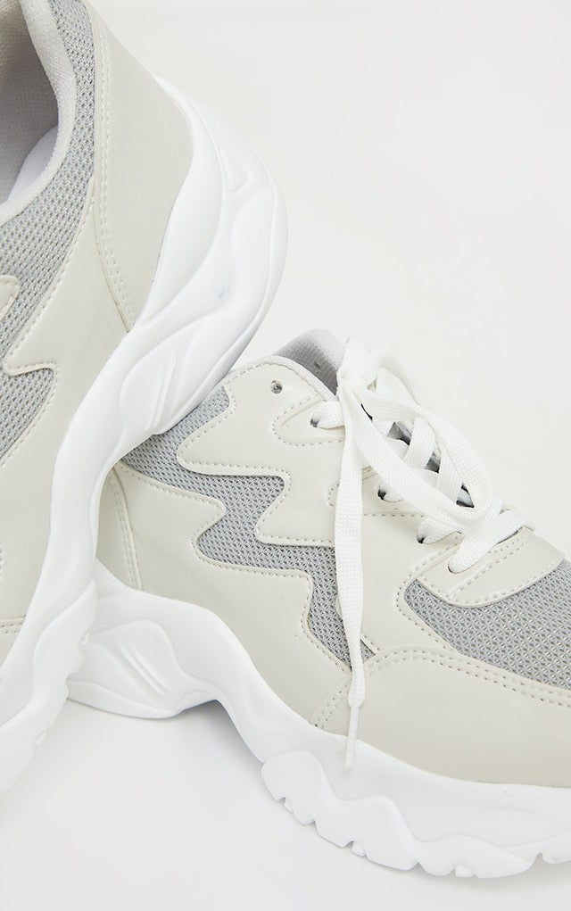 PRETTY LITTLE THING STONE MESH CONTRAST WAVE TRAINERS