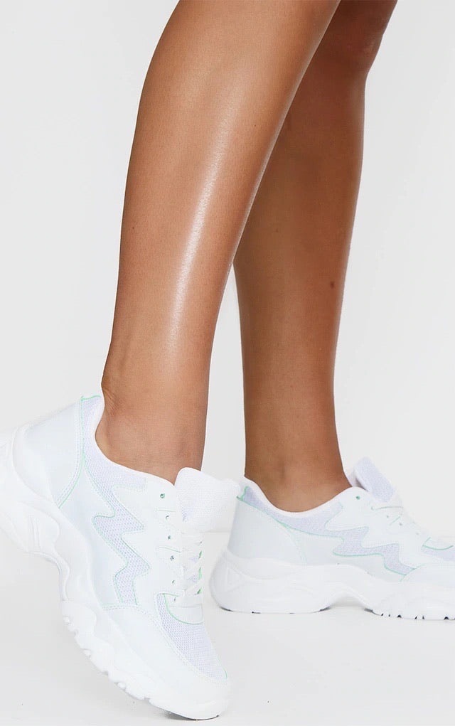 PRETTY LITTLE THING WHITE MESH CONTRAST WAVE TRAINERS